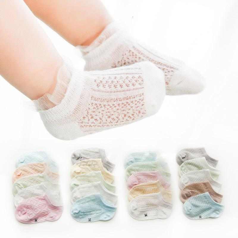 2021 Malla de verano Thin Hollow Out Transpirable Bebé Algodón Sólido Color Sólido Niño Socks Boat Socks
