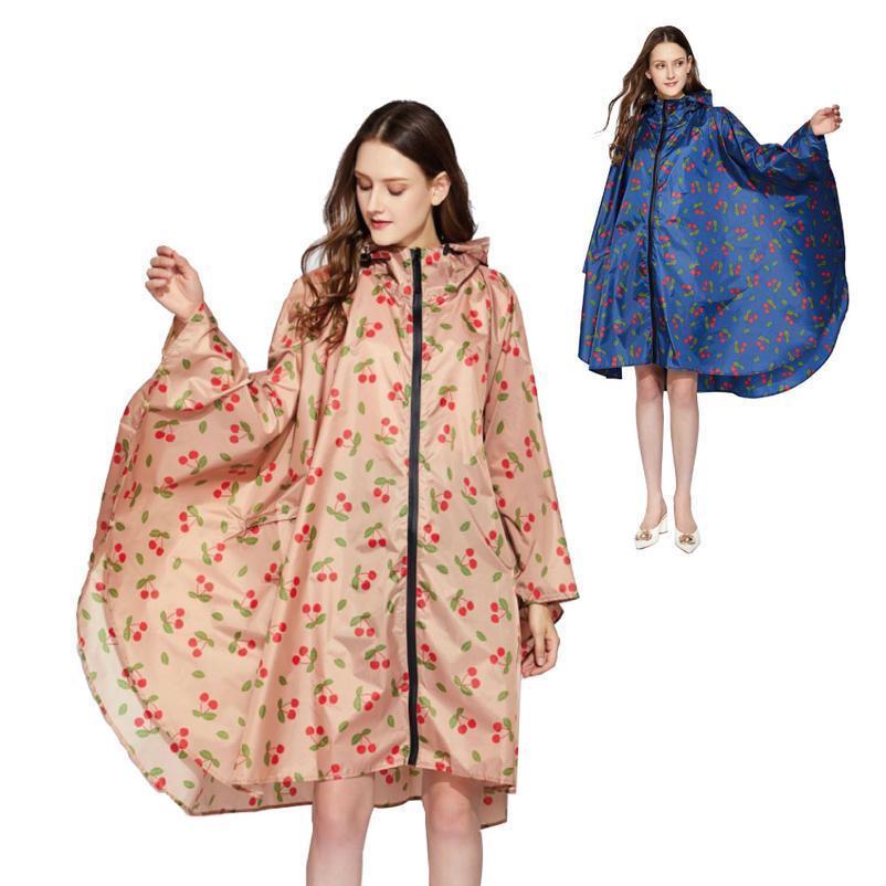2020 Good Quality Women Waterproof Fashion Print Pattern Big Rain Cape Poncho With Zipper Hood For Ladies Girls Outd jlllqb