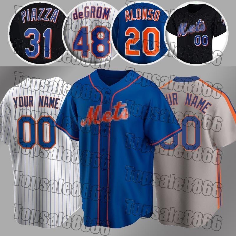 Yeni Pete Alonso Jerseys York Jacob Degrom Özel Mets Jersey Mike Piazza Jersey Dwight Gooden Darryl Çilek Beyzbol Formaları