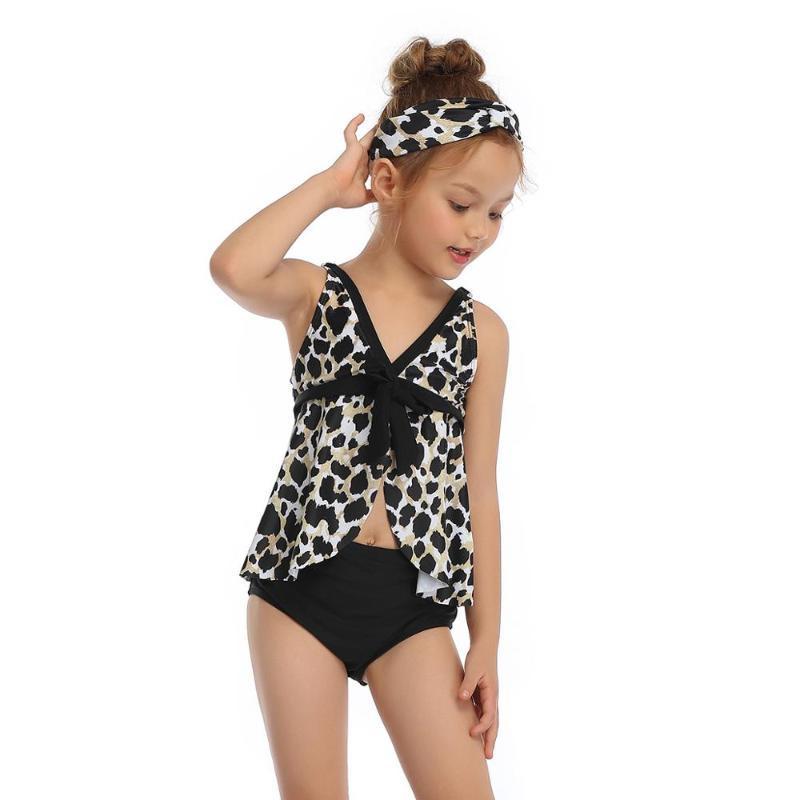 Mignon léopard adolescent fille maillot de bain maillot de bain costume enfant enfant enfant arc décorer tankini bikini deux pièces d'été plages de plage 2T-14T