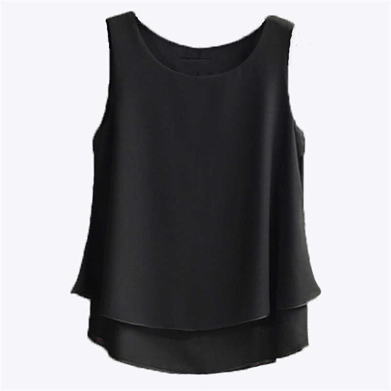Tops de verano Blusa de mujer Llegada sin mangas O-cuello de gasa más tamaño 5xl 4xl Camisa casual para niña shir