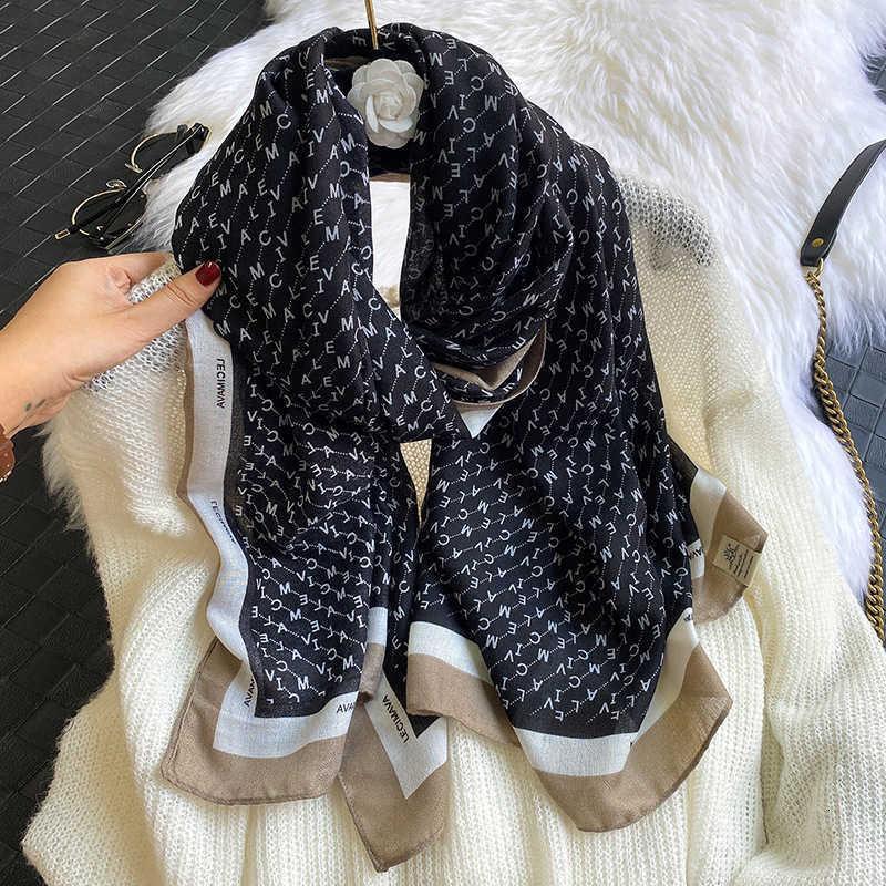 Осень и зима 2021 Новый женский корейский алфавит напечатанный хлопчатобумажный конопля рука пляжная полотенце шаль летний солнцезащитный крем шарф WV4i