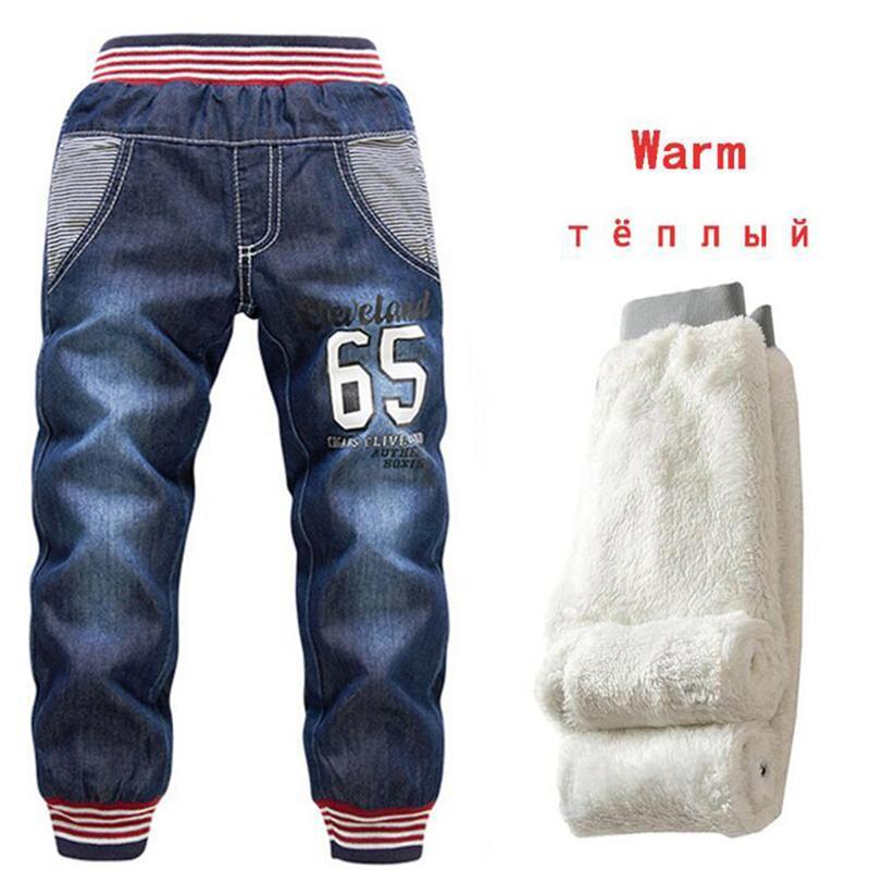 New Baby Boys Jeans Добавить шерсть зима 2-7 лет детей сгущает джинсовые брюки дети маленькие ноги теплые термические хлопковые брюки 210303