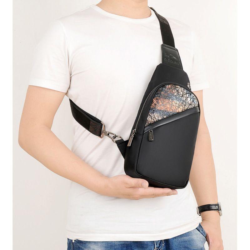 Cotton Fabric chest Pack Men Sport Shoulder Travel Bags Crossbody Bag USB Charge Fashion Designer Men's Polyester Sling Bag 173 C0305