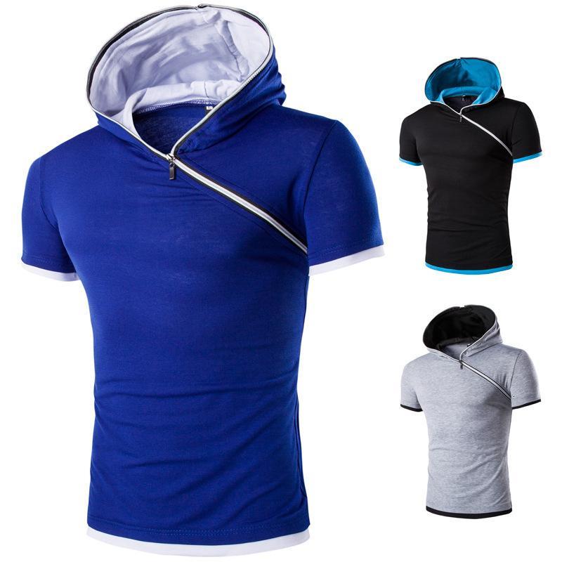 Новая наклонная молния с капюшоном мода мода тонкий с коротким рукавом футболка мужской свитер