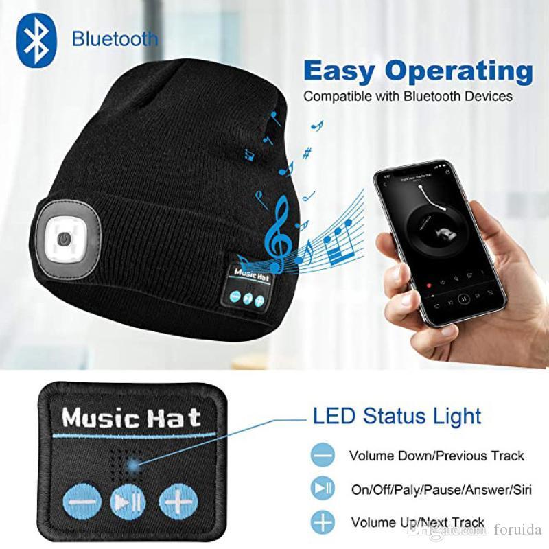 Новый Bluetooth LED Beanie Hat с светлыми встроенным стереодинамиком и микрофоном USB аккумуляторные заголовки для наушников.