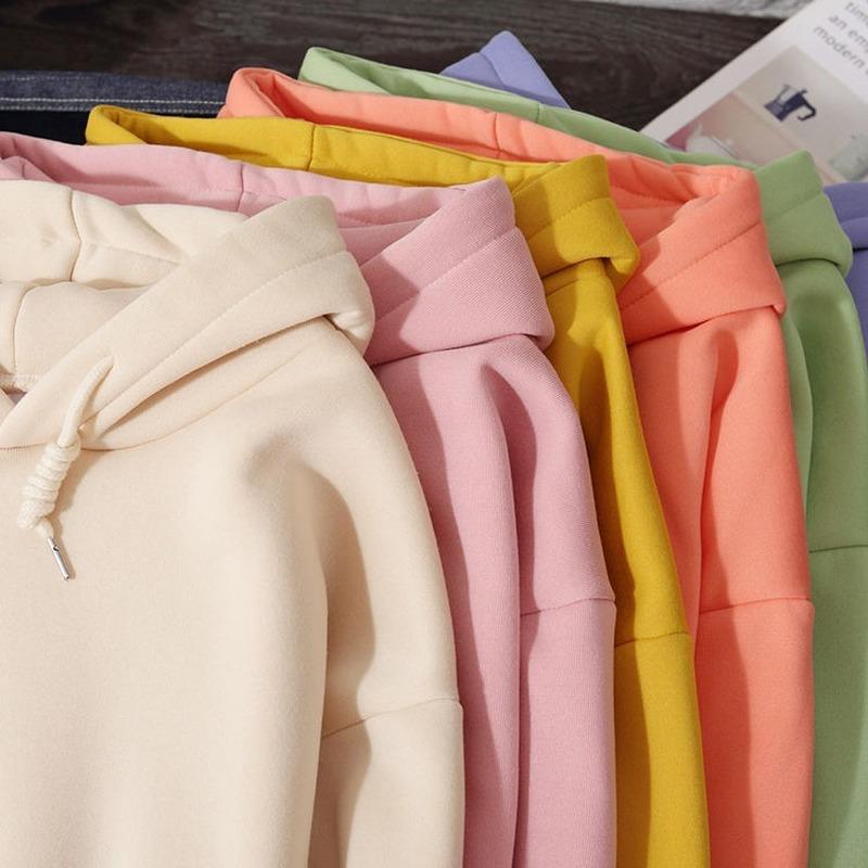 Плюс бархат негабаритные толстовки женщины 2020 осень зима женские свободные повседневные пуловер с толщиной слияние сплошные цветные толстовки толстовки
