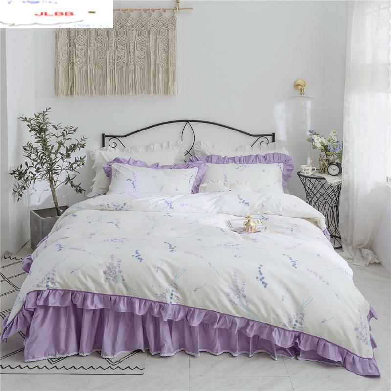 4 unids conjunto de algodón de lujo conjuntos de ropa de cama de lujo conjuntos de funda de cama conjuntos de cama con falda de cama conjuntiva gemela reina rey flores blanco púrpura ropa de cama