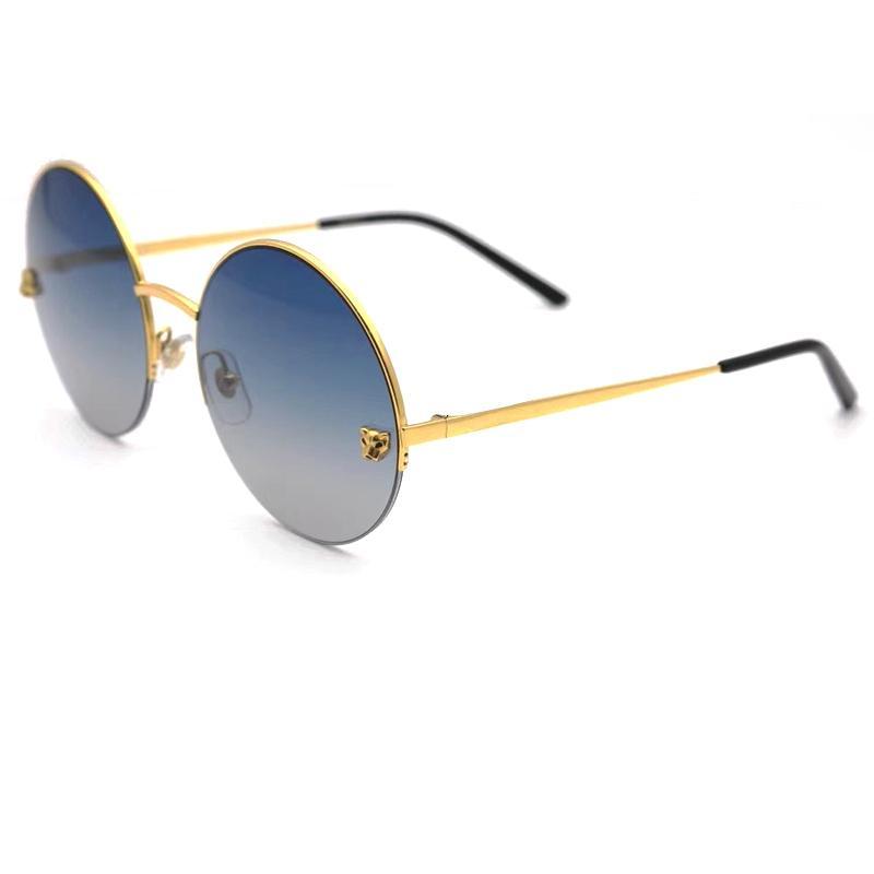 2021 New Panthere Limited Sonnenbrille Runde Glatte Champagner Shades Mens Designer Sonnenbrille Sonnenbrille Gafas de Sol G3wq