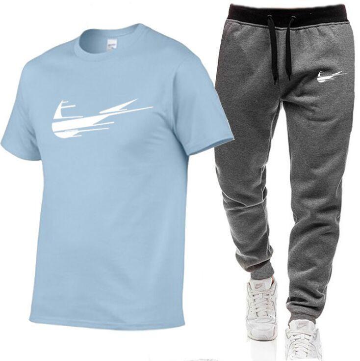 2021 T-shirt bianche da uomo + Pantaloni Set di due pezzi Set Casual Tracksuit Uomo 100% cotone Suit Stampa Top + Pantaloni Pannelli Pantaloni fitness S-2XL