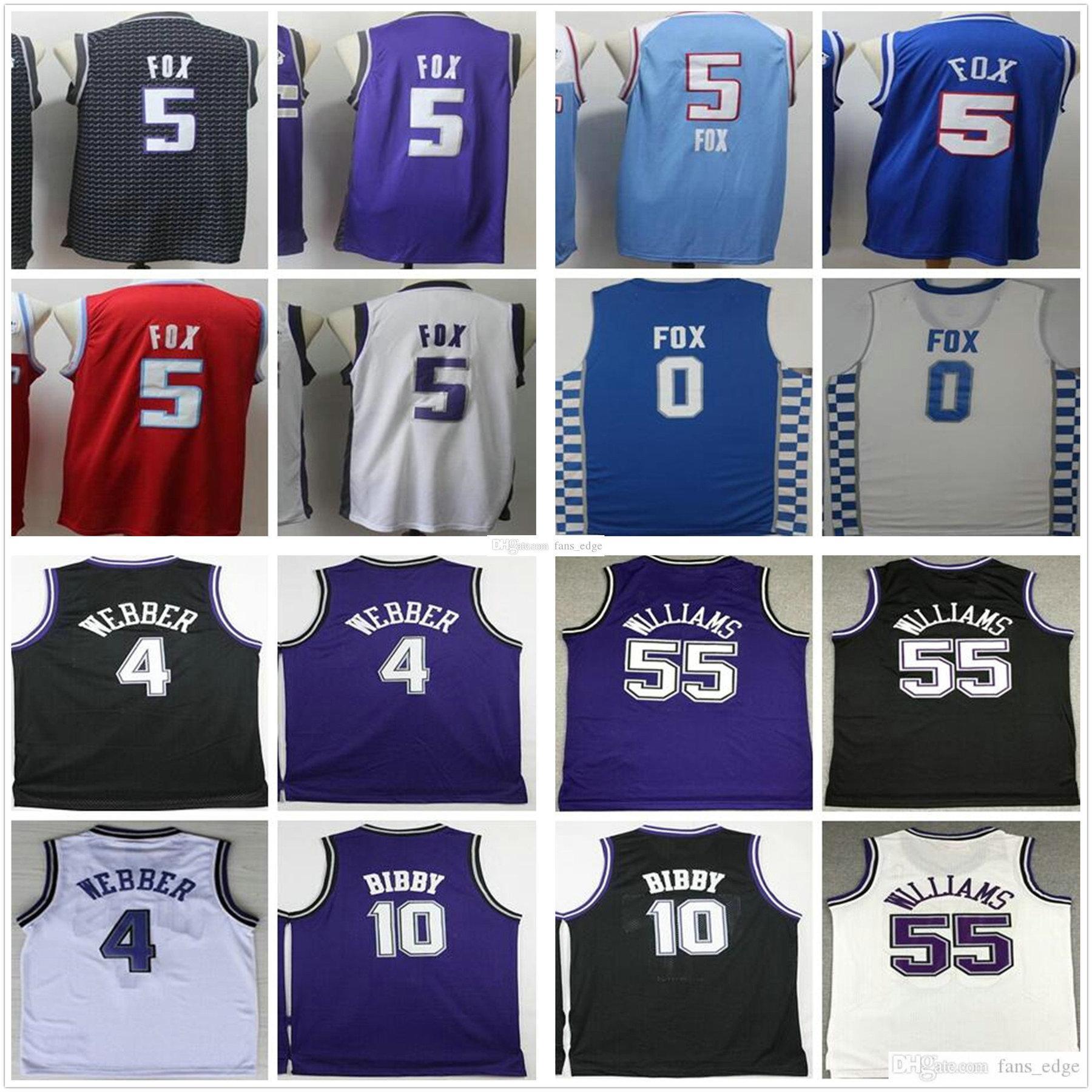 NCAA Erkek Sacramento Deaaron 5 Fox Krallar Mor Siyah Beyaz Mavi Retro Vintage 4 Webber Mike 10 Bibby Jason 55 Williams Basketbol Formaları