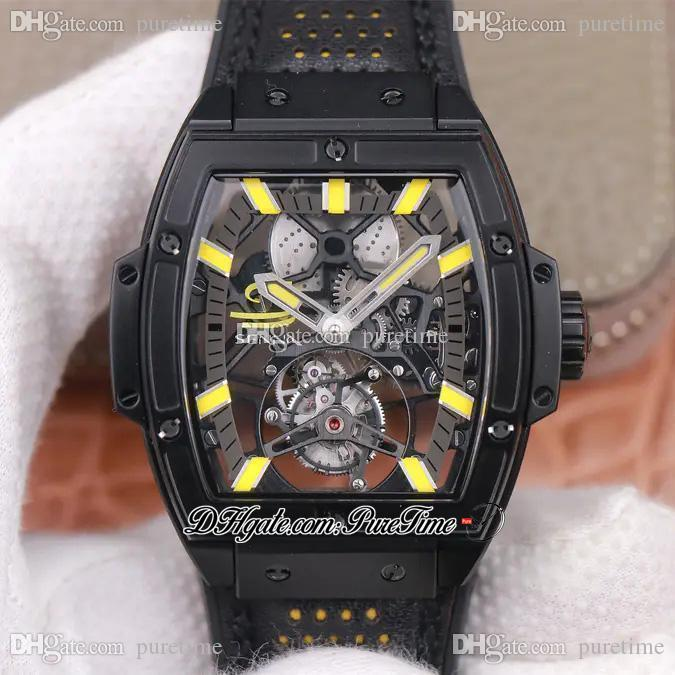 JBF MP 06 Spirit HUB9006 Automatic Complicated Tourbillon Mens Watch Skeleton Dial PVD Yellow Markers Leather 2021 Super Edition Puretime I9