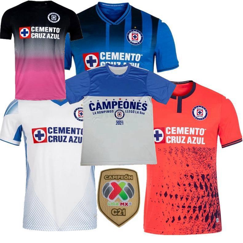 LIGA MX CAMPEONES 2021 2022 Cruz Azul Soccer Jerseys Rodriguez Pineda Alvarado Romo Accueil 3ème 20 21 22 Football Hommes Femmes Chemise 3XL
