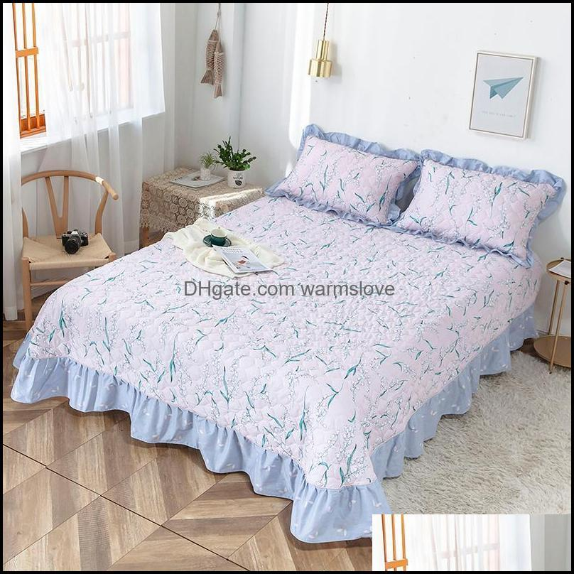 Sheets Supplies Textiles Gardensheets & Sets Home El Bedroom Thicken Quilted Cotton Flat Sheet Flower Bedspread Bedding Linens Bed Case Set