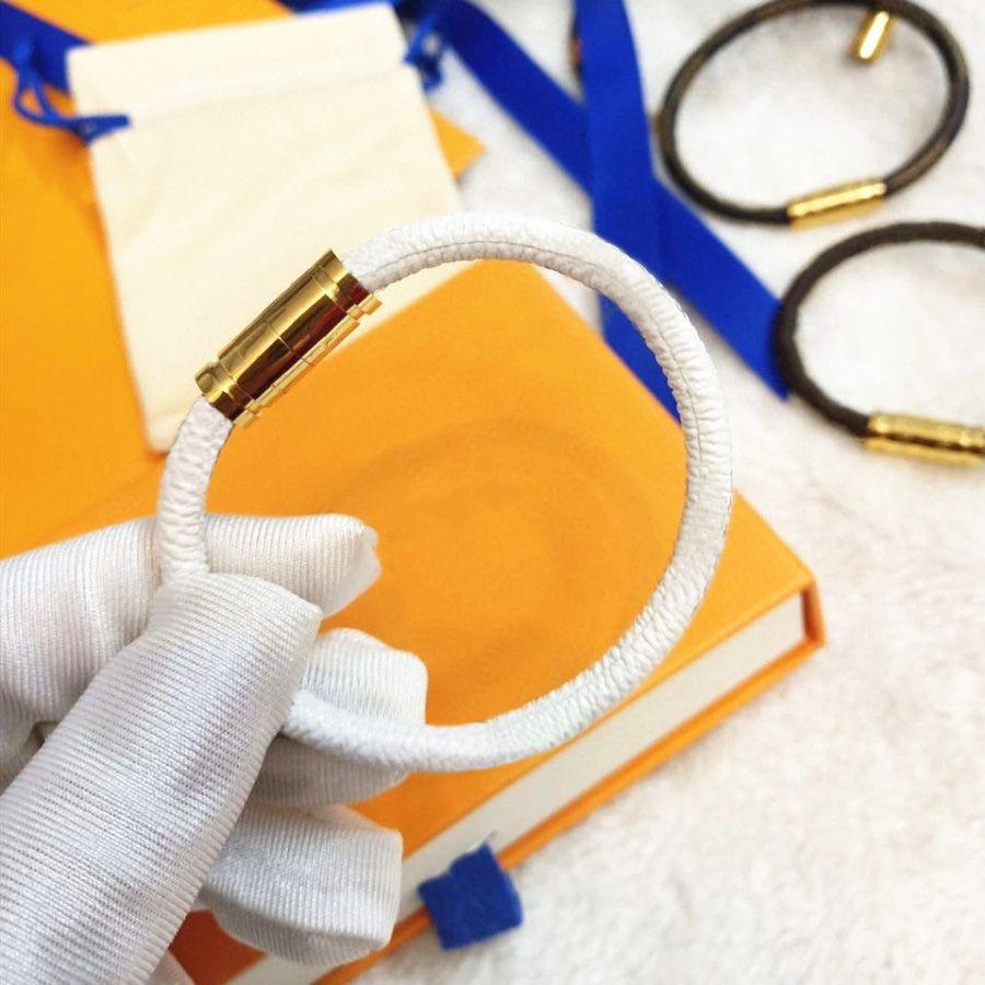 남자 여자 팔찌 패션 가죽 자기 버클 팔찌 체인 쥬얼리 유니섹스 손목 밴드 4 색 고품질 상자는 추가 비용이 필요합니다.