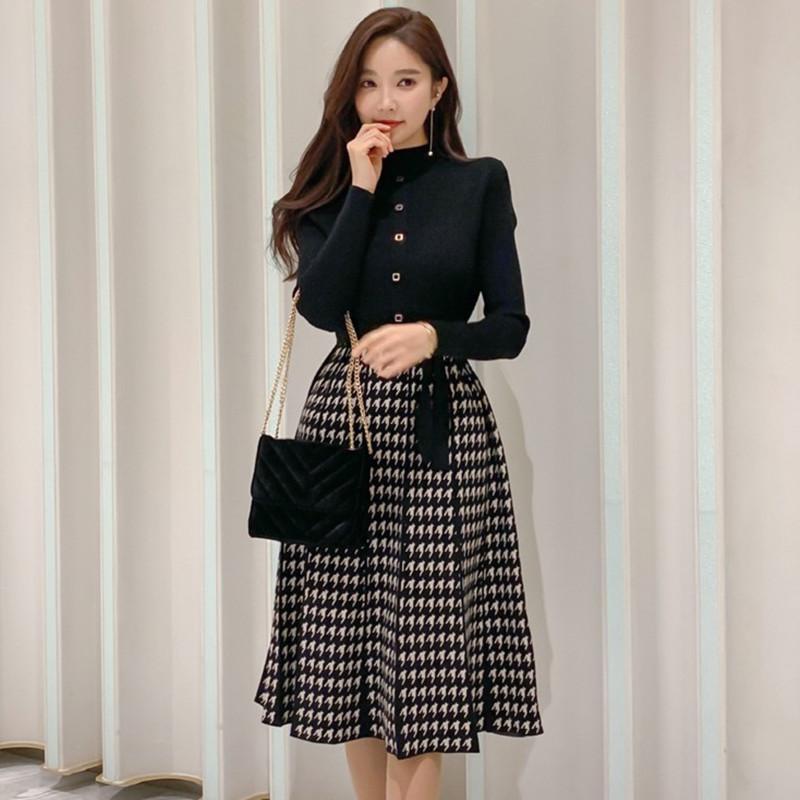 Abiti casual Zawfl 2021 Autunno Coreano Elegante Elegante Plaid Plaid Patchwork Donne Abito a maniche lunghe O-Collo Lace-Up Bow Pleated Midi Vestido