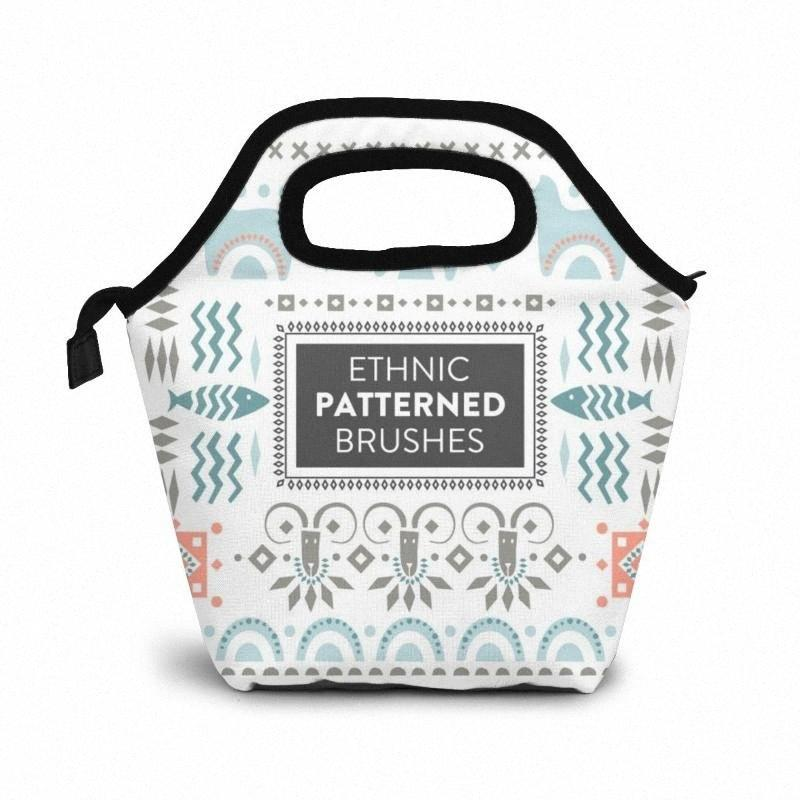 Ethnic Patterned Brushes Lunch Bag Boxes Bags Portable Insulated Picnic Box For Women Men x5hm#