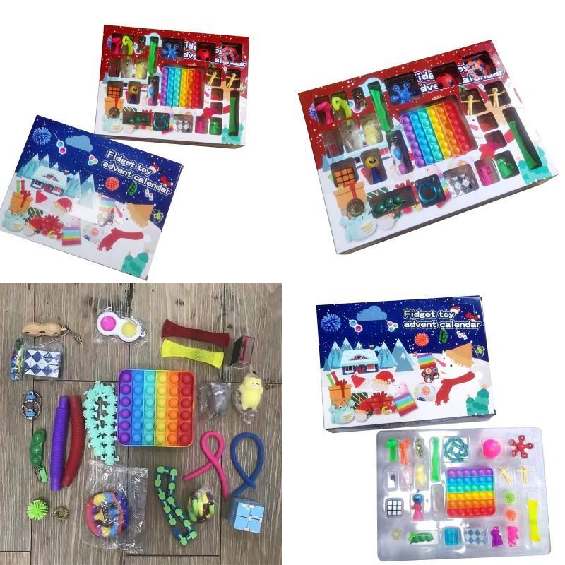 Christmas Fidget giocattolo Avvento Calendario per ragazze Ragazzi Bambini Adulti Surprise Sollier Stress Count Down festa festa Y2