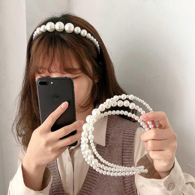 2021 Hairbands Novo Luxo Big Pearl Bezel Mulheres Meninas Bow Sunflower Feminino Cabelo Do Cabelo Acessórios De Cabelo Moda Jóias Headband Y0723