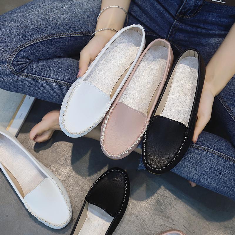 Rahat Kadınlar Daireler Nefes Kaymaz Manahçık Yumuşak Bayanlar için Ayakkabı Üzerinde Kayma Ayakkabı Kadın Siyah Loafer Beyaz Ayakkabı 6899