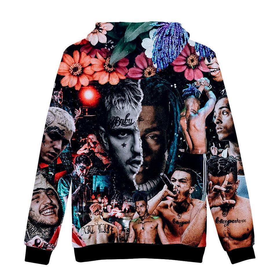 XXXTentacion Digital Print 3D Hoodies With Long Sleeve Hooded Sweater Hip Hop Mens Designer Hoodies Casual Zipper Pullover Hoodiesa1