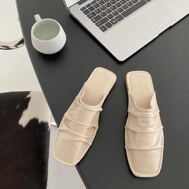 Terlik Bayanlar Muller Ayakkabı Rahat Pileli Düz Sivri Deri Rahat Sole Slip-On Sandalet Tüm Maç Baotou Yarım