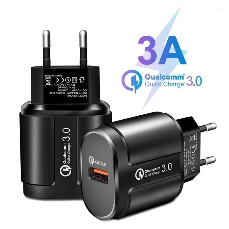 Hot USB-Ladegerät Telefon QC 3.0 18W Schnellwand Ladegerät 3A EU US UK UK-Plug-Reiseadapter für iPhone Samsung Universal Fast Charger