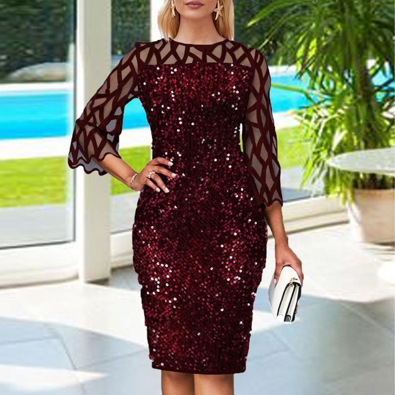 Moda kadın katı gazlı bez sequins patchwork See-Boyun elbise