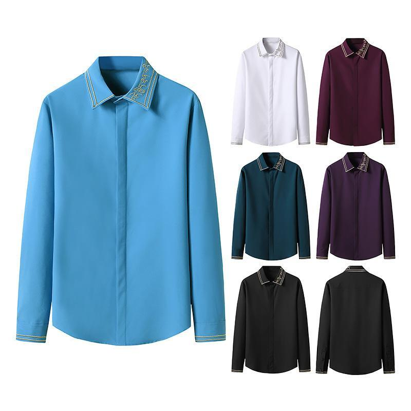 Herren Casual Hemden Hemd Langarm Herunterziehen Gestickte Kragen Strickjacke Farbanpassung Single-Breasted Slim Type Tops