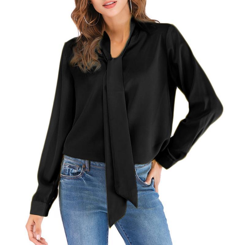 Faylisvow 5XL Plus Size Bluse Herbst Frauen V-Ausschnitt Fliege Fliege Arbeit Lange Chiffon Bluse Beiläufige Bürostil Weibliche Shirts Blusen