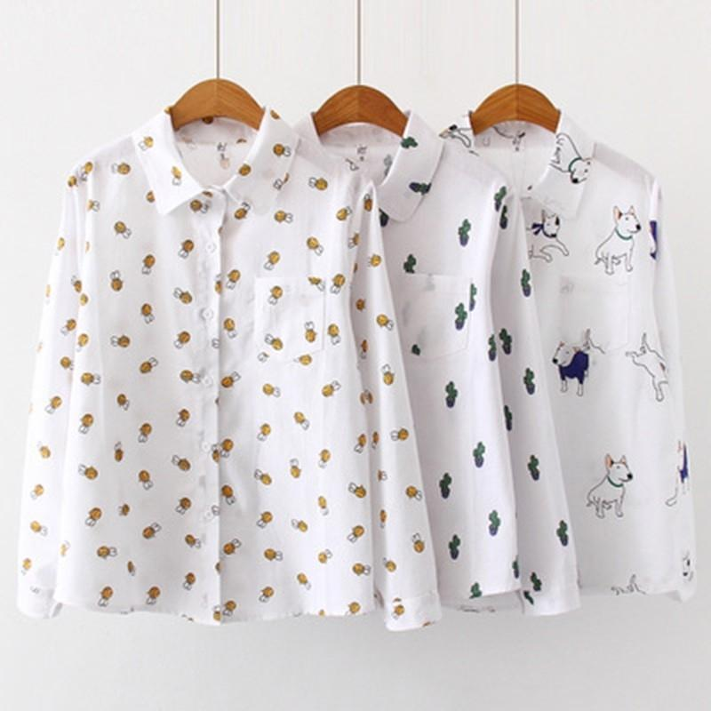 Donne Camicette Cartoon Dog Bee Stampa Stampa Top femminile Manica lunga Plus Size 2XL 3XL Camicie da donna Abbigliamento Signore Abbigliamento Cotton Moda Donna Camicie 21302