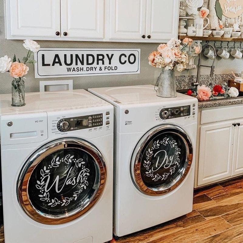 """Lavanderia decoração """"lavagem"""" """"seco"""" decalque de vinil decalque, decoração de lavandaria máquinas de lavar roupa com coroa floral 13,5 polegadas E830 210308"""