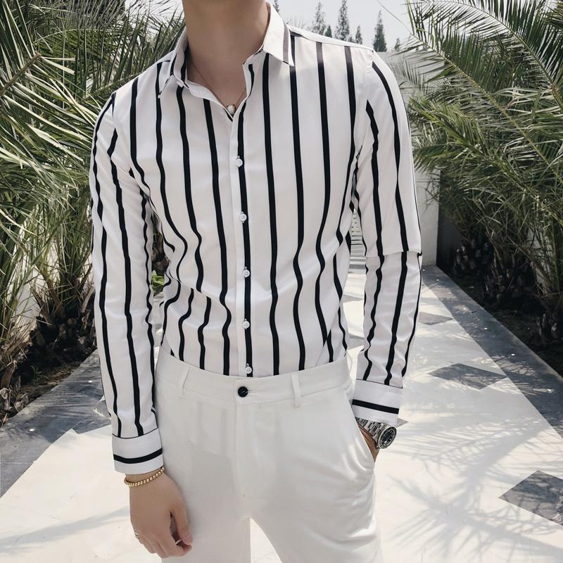 2021 Camisa de negocios Hombres Alta Calidad Casual Slim Fit Shirts Camisa Social Masculina Manga larga Streetwear Rayas Hombres camisas