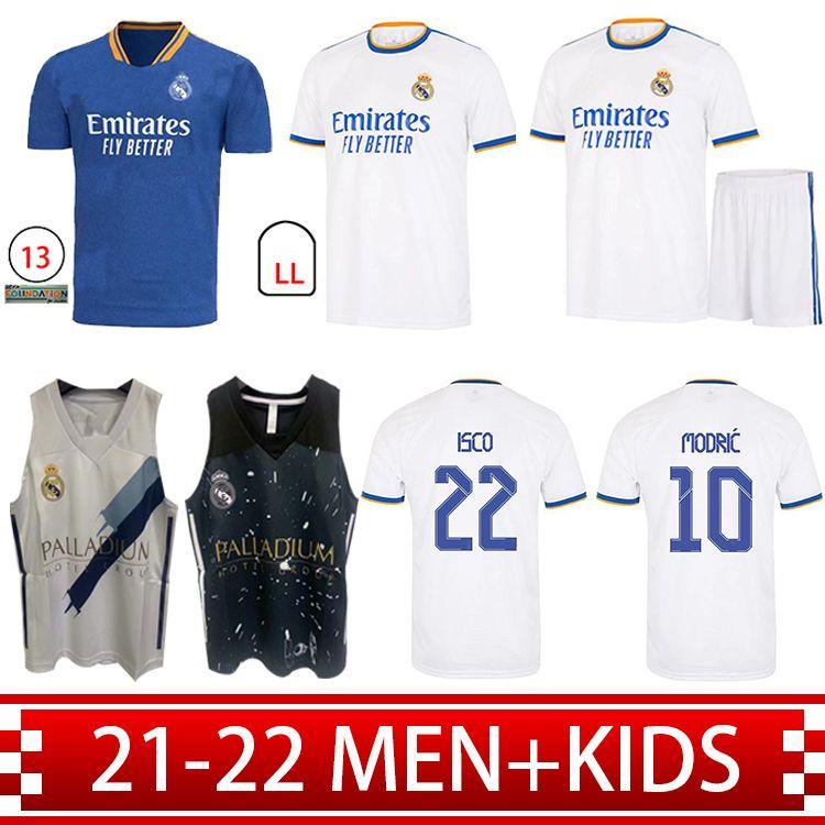Real Madrid Jerseys 21 22 Camisas de fútbol de fútbol Alaba Sergio Ramos Benzema Asensio Modric Marcelo Camiseta Hombres + Kit Kids 2021 2022 Uniformes Cuarto