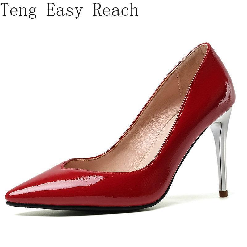 Kleidschuhe frauen mode patetn leder high heels pumpen rot beige spitz kee frau frau schwarz zapatos de mujer