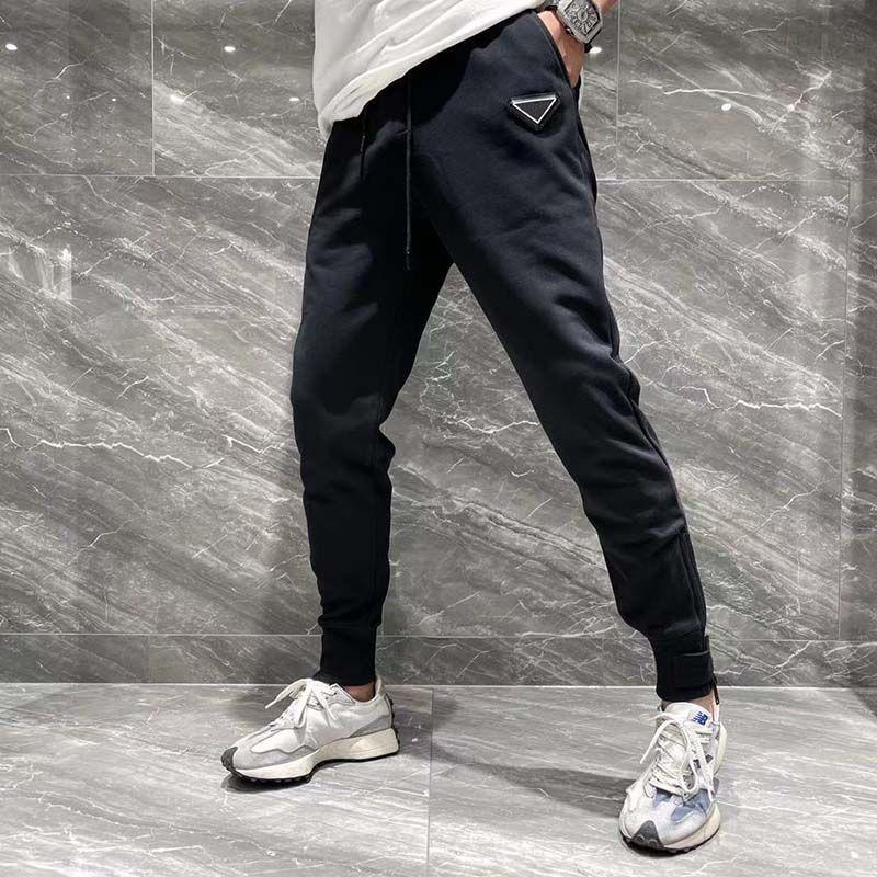 21ss Fransa Erkek Tasarımcı Pantolon Moda İtalya Pantolon Mektup Üçgen Erkek Kadın Rahat Pamuk Beyzbol Pantolon Mavi Siyah 09