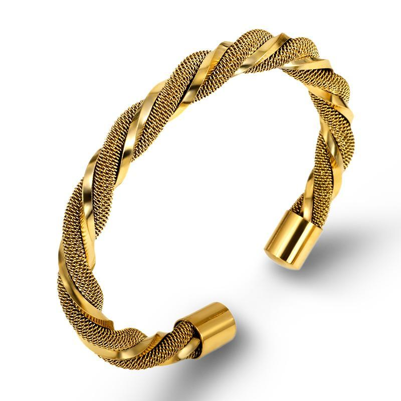 Bangle 2021 Fashion Stainless Steel Cable Twist Bracelet Three Colors For Women And Men Vintage Charm Wholesale Jewelry