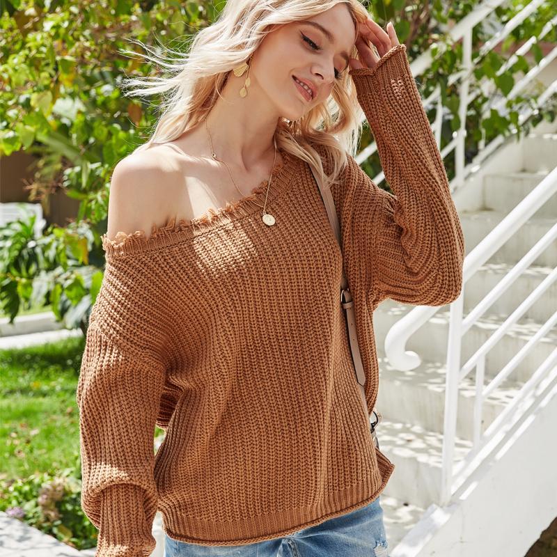 2021 Nueva borla casual del hombro tejido de punto O-cuello de gran tamaño Puente de color sólido Pullovers Tops Suéter Mujeres QNZ2