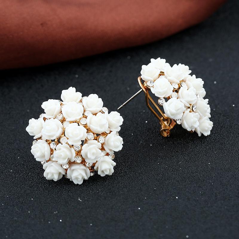 Высококонечный фарфоровый цветок, инкрустированный с бриллиантовыми серьгами для женщин