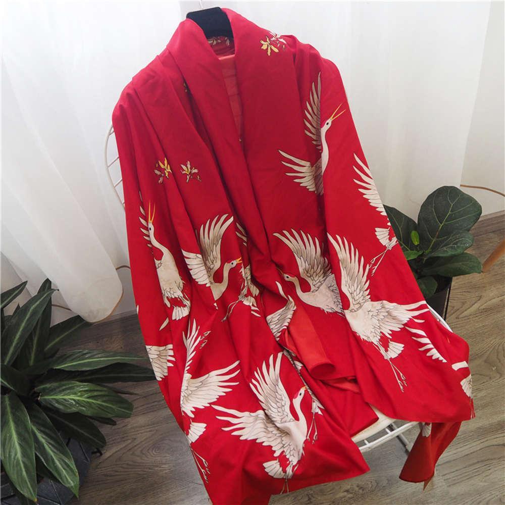 Летний тонкий шелковый женский универсальный солнцезащитный крем двойной цель супер большой пляжный полотенце платок весна и осенний шарф