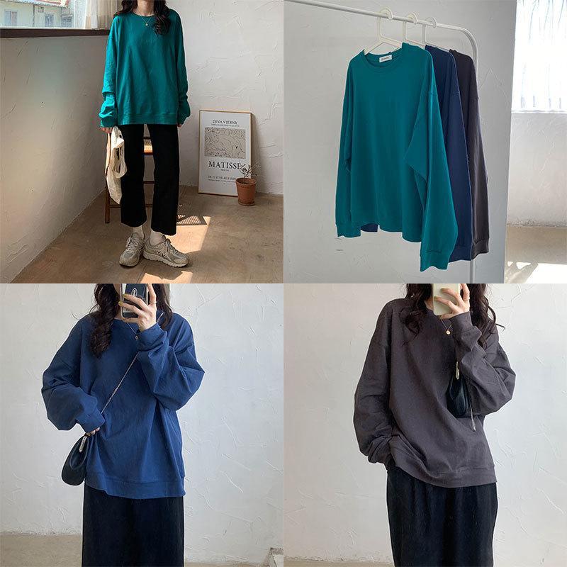 2021 Neue 8 Farben Herbst Koreanische Stil Grundlegende Baumwolle Langarm T-shirts Frauen Lose Tops T-Shirt Femme (x1250) 5OO2