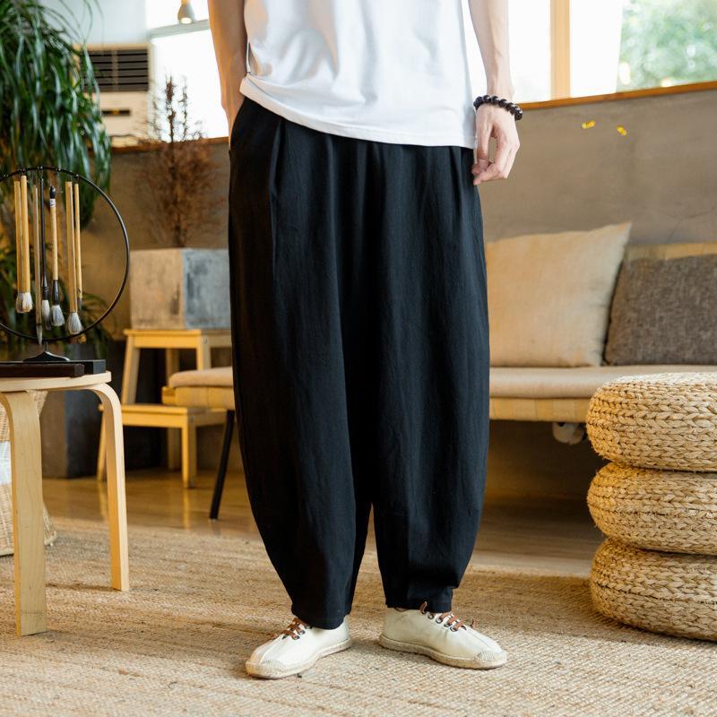 Prowow 2021 Yaz Kore Keten Rahat Pantolon Erkekler Elastik Bel Tam Boy Harem Pantolon Erkekler Sweatpants Erkek Bloomers Streetwear C0222