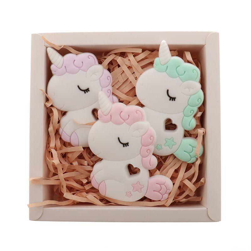 QHBC unicórnio 5 pcs silicone roedor bebê bebê cavalo ténether bpa infantil infantil livre pingente materiais de enfermagem alimentar animais diy 210311