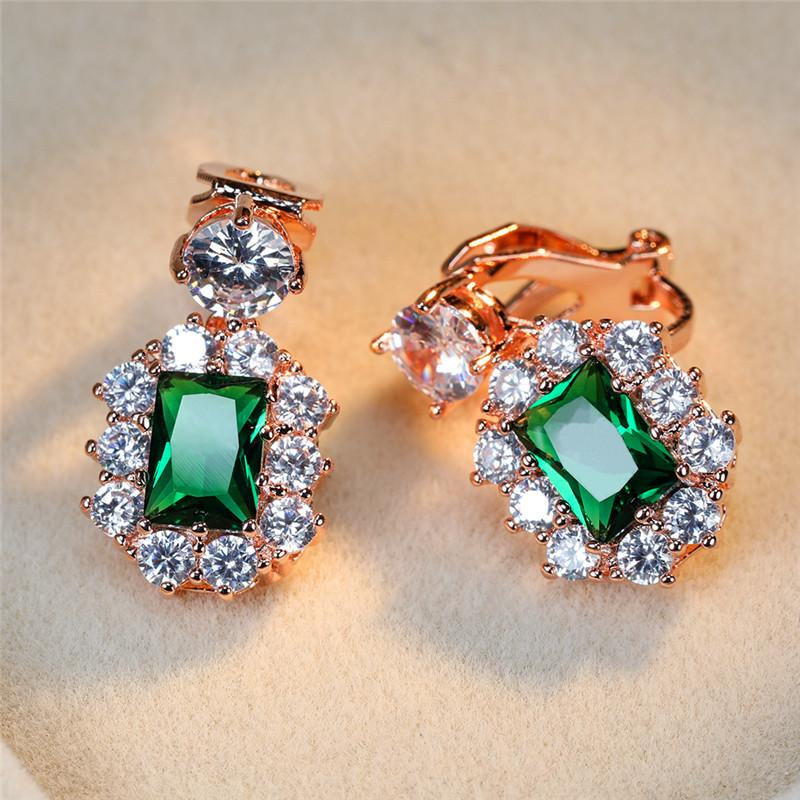 Vintage hembra azul verde rojo cristal pendientes de cristal pendientes de clip de color plateado para mujeres Joyas de boda de Zircon Square Daildy