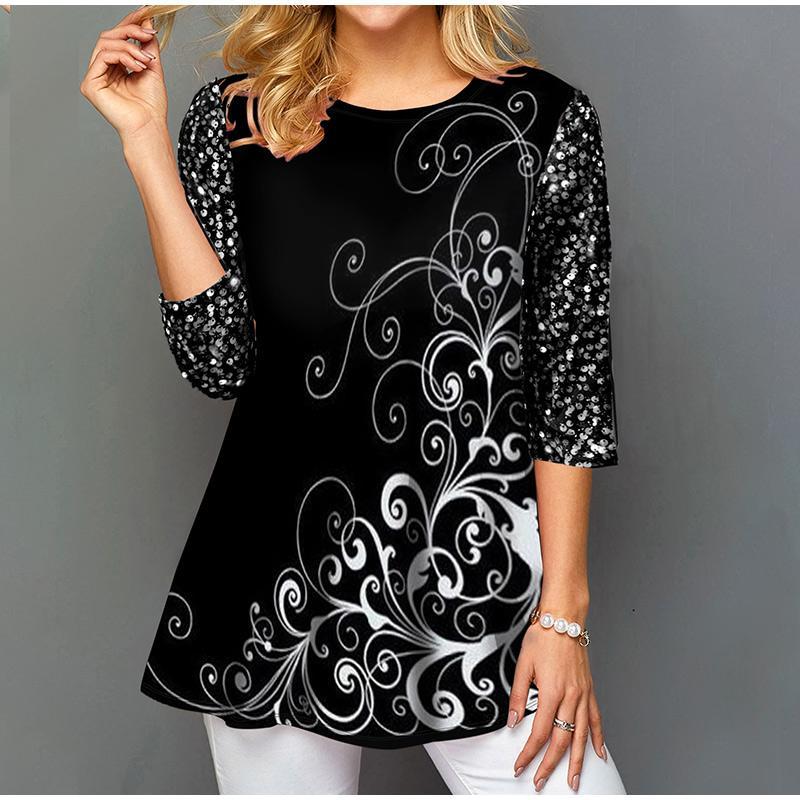 Plus Size 5XL Printed Large Women's Tunics Blouse Black Half Sleeve Female Tops 2021 Summer Elegant Casual Fashion Lady Clothing