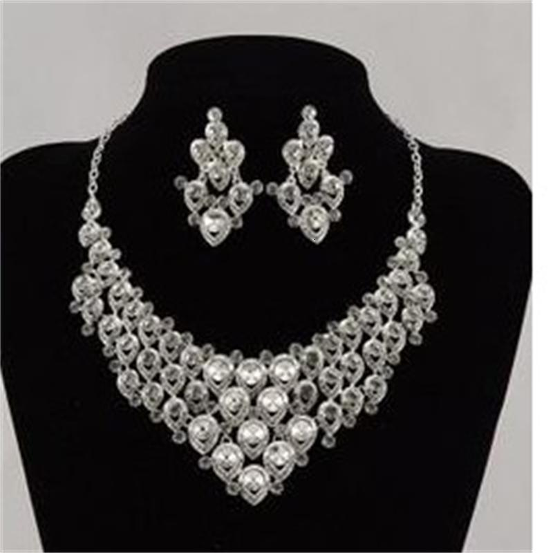 CRISTAL BLANCO Novia de la boda Jewerly Set Collar Peatings Crown (88) YYWY