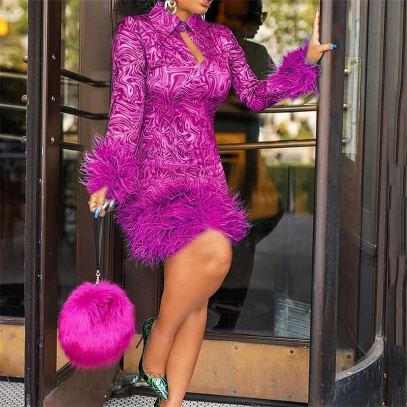 Tüy Kış Elbiseler Kadınlar Vintage Baskı Bodycon Afrika Bayanlar Uzun Kollu Parti Elbise Mini Seksi Kulübü Siyah Artı Boyutu 2XL 3XL 210303
