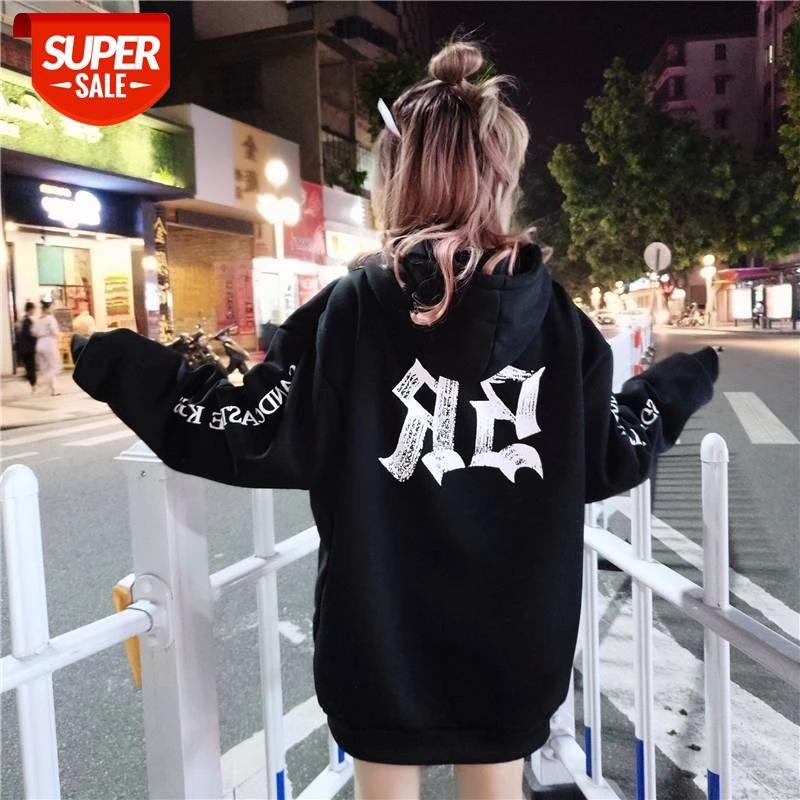 Sonbahar Moda Hoodie Streetwear Kazak Hip Hop Siyah Kapüşonlu Hoody Erkek Kadın Harajuku Hoodies Tişörtü Rahat Ceket Kızlar # HL6F