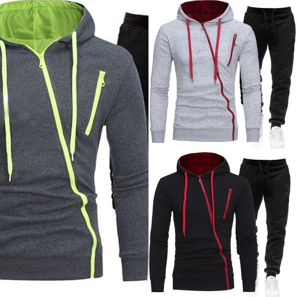 Frühlings-2-teiliges Set Herren-Kapuzen-Sweatshirt + PantsSports-Anzug Herren-Kapuzen-Reißverschluss-Pullover Herren Sportanzug Größe M-3XL x0601