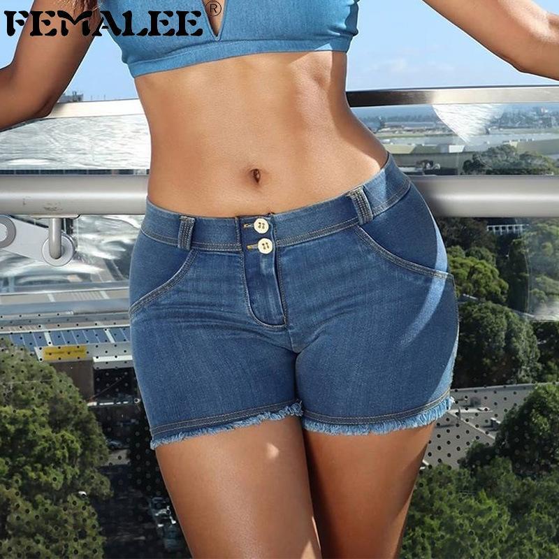 femalee الصيف قصيرة السراويل الساخنة النساء مثير منتصف الخصر المرقعة الجينز e الفتيات الأزرق شرابة ضيق البسيطة السراويل
